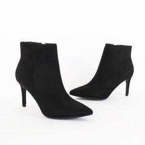 acai black vegan suede ankle boots booties